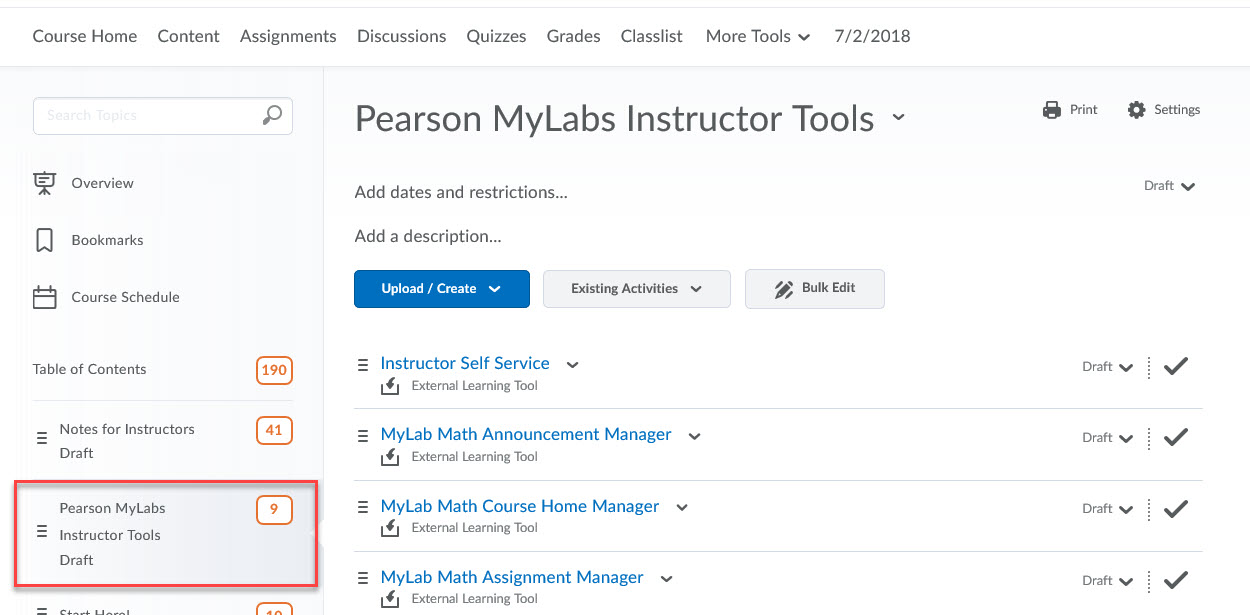 Pearson MyLabs Instructor Tools example
