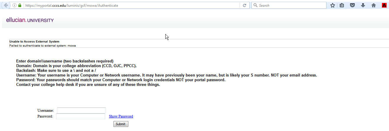 CCCO Portal credentials window