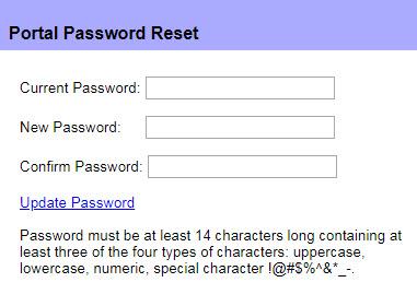 Portal Password Reset Window