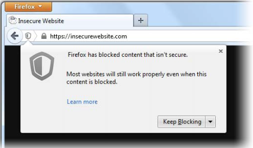 Firefox unsecure content window