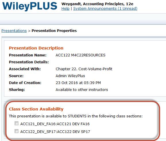 WileyPlus Presentation Properties