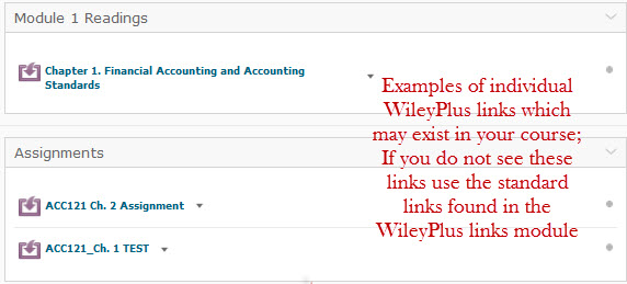 WileyPlus individual links example-located in Modules