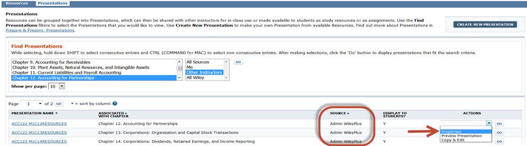 WileyPlus Find Presentations window
