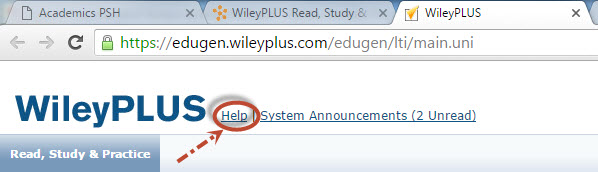 WileyPlus Help link