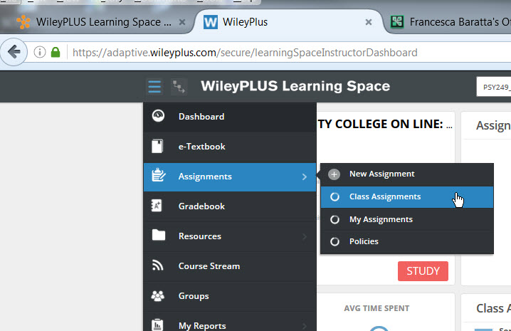WP Learning Space Class Assignments menu
