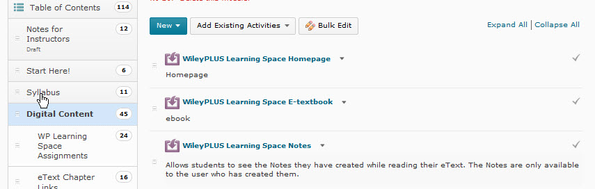WileyPlus Learning Space D2L Links