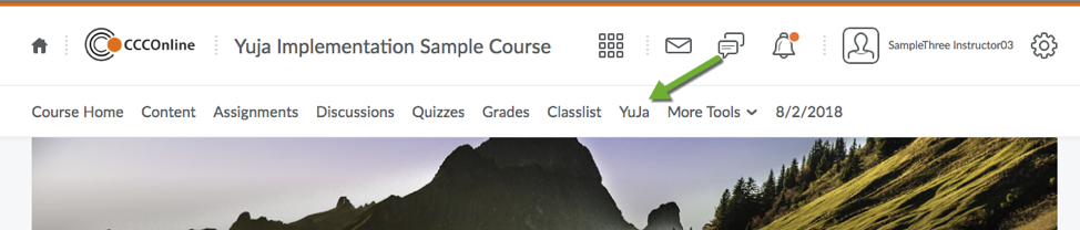 D2L Course navigation with YuJa link